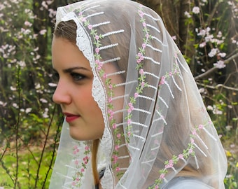 Evintage Veils~ Our Lady of Virtues Miniature Roses Embroidered  Lace Chapel Veil Mantilla Infinity or D Shape Latin Mass