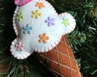 Wool Felt Vanilla Ice Cream Cone Ornament Hanger