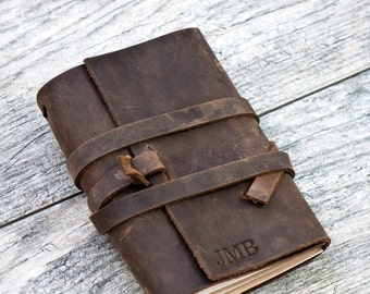 REFILLABLE Personalized Leather Journal Notebook or Sketchbook | Rustic Brown, Saddle Tan, Dark Brown