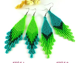 Statement Jewelry Beaded earrings Green dangle earrings Green beaded jewelry Long green earrings Seed bead earrings Fringe earrings