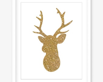 Printable art - printable gold glitter print - deer print - gold printable poster - printable wall art - deer head poster - DIGITAL DOWNLOAD