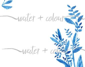 Watercolor blue leaves border