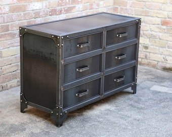 Modern Industrial Steel Bedroom Dresser | Vintage Style Riveted Furniture |  Drawer Cabinet | Metal