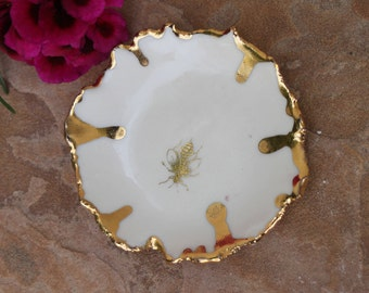 Queen Bee Ring Dish handmade ceramic gold rim plate porcelain bees ring holder trinket dish jewelry holder gift for the bride gifts for her