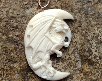 Carved Bone Dragon and Moon Pendant