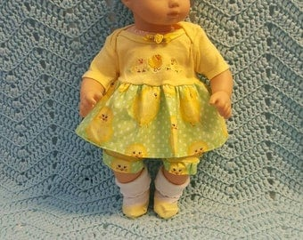"""Baby Doll Clothes """"Cute Chicks"""" 15 inch doll outfit Will fit Bitty Baby® Bitty Twins®  dress, leggings, socks, headband Easter or anytime"""