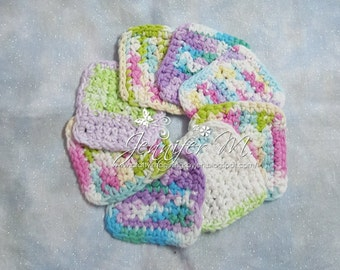 Set of 8 Crocheted Cotton Facial Scrubbies