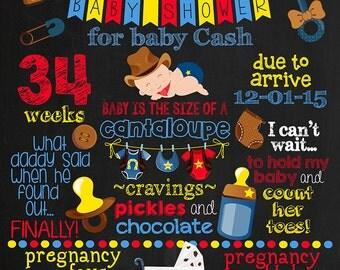 Cowboy Baby Shower Chalkboard Poster DIGITAL FILE