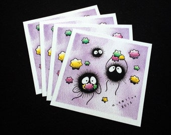 Totoro Spirited Away Soot Sprites Mini Tattoo Flash Print by Michelle Coffee