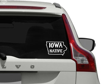 Iowa State Car Decal / Iowa Native Car Decal Sticker / Iowa Native Window Decal