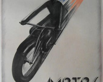 Original 1930s Art Deco 'Motos Peugeot' Advertising Poster