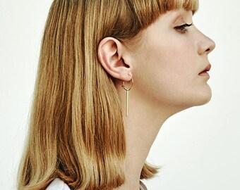 Minimal bar hoop earrings - Gold bar - Bar earrings -Elegant - Modern - Gold filled- trendy minimal earrings