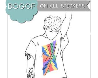 Just Hold On Sticker Louis Tomlinson One Direction Stationery Art Drawing Line Art Illustration Portrait Sticker