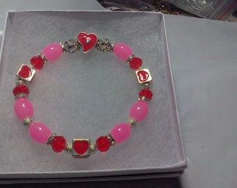 Red & Pink  Heart Bracelet