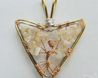 Instinct Phoenix Citrine Ethiopian Opal Mother of Pearl Tree of Life Pendant Suncatcher