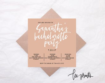 Printable Bachelorette Party Invitation, Modern Bachelorette Invite, Size 5.25x5.25, Bachelorette Party