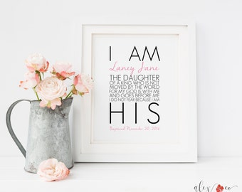 I Am the Daughter of a King Printable Personalized Quote Wall Art, Custom Baby Girl Nursery Printable, Personalized Baptism Printable