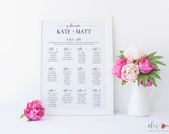 Printable Seating Chart. Wedding Table Seating Chart. Wedding Table Chart. Wedding Seating Chart. Wedding Seating Sign. Seating Chart Print.