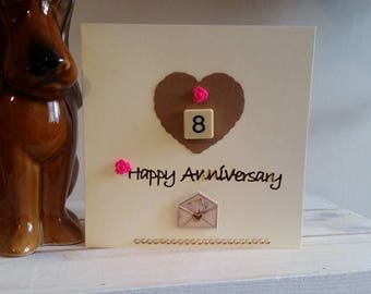 8th Anniversary Card for Wife, Girlfriend, Fiancee - Handmade Card for Eighth Wedding Anniversary - Special Card - 3D Unique Handmade