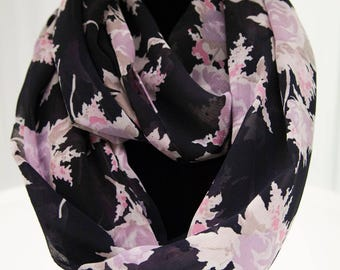Navy with Purple Flowers Infinity Scarf