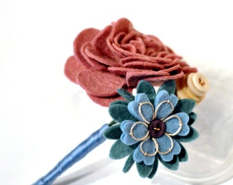 Felt buttonhole / Everlasting buttonhole / Corsage / Embroidered buttonhole / Pink Rose Corsage / Alternative wedding flower / muted colours