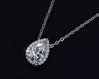Drop Wedding Necklace - Bridal Necklace - Teardrop Necklace - Bridesmaid Gift - Cubic Zirconia Necklace - Crystal Wedding Necklace - AN0021