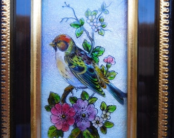 Absolutely Lovely Early 1900s Limoge Enamel Copper Bird Cherry Flowers Blossoms Painting ! Alain Grateuil Branch Leaves