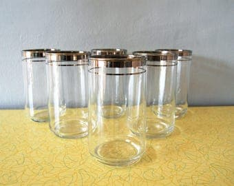 Vintage 1960s Tumblers w/ Silver Bands (Set of 6) / Silver Rim Glasses / Mad Men Barware