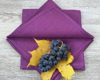 Purple linen napkins - purple napkins set - purple table napkins - purple cloth napkins - purple wedding - purple dinner napkins