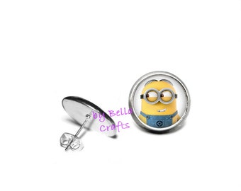 Minion, Post, Earrings, 12mm, Epoxy Cabochons, Comic Book, Geeky, Nerdy, Gift
