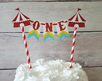 Circus First Birthday Topper Circus Cake Bunting Circus Cake Topper Circus Smash Cake Age Cake Topper Circus Party Decor Circus Bunting