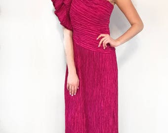 VTG 1980s Mary McFadden Couture One Shoulder Fuchsia Dress