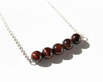 Red Tigereye Necklace Sterling Silver Chain Chatoyant Reddish Brown Tiger Eye Small Round Beads Natural Stone Bar Necklace Simple  #17532