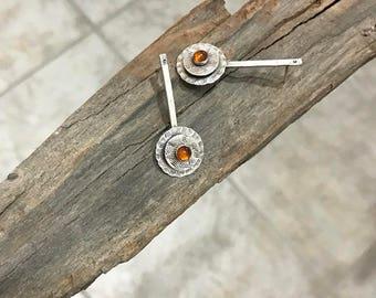 Long studs earrings,  Artistic long studs, Amber studs,  Amber earrings, sterling silver long studs