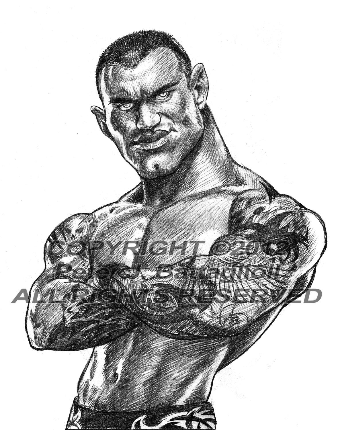 randy orton caricature poster art sketch print limited