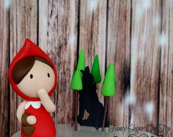 Fondant Little Red Riding Hood with Wolf Cake Topper set
