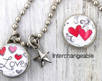 kids necklace, kids jewelry, heart charm, valentine, kids accessories, pendant, Interchangeable photo jewelry, #108