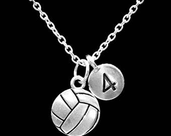 Volleyball Number Necklace, Sports Mom Gift Necklace