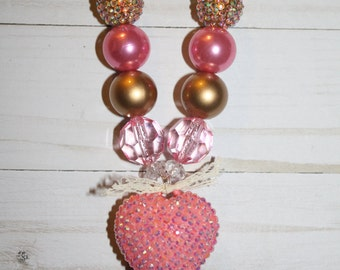 Cherish Necklace-Pink and Gold-Heart Necklace-M2M CutieZ KidZ-Baby-Toddler-Girls-Women