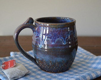 Pottery mug, coffee mug, purple mug, tea cup, drinking mug, drinkware, coffee, blue pottery