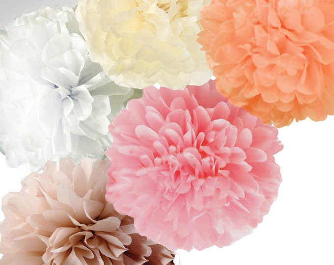 "Blush set of tissue poms, 18"" poms in Light Pink, Ivory, Peach, Blush, & White 