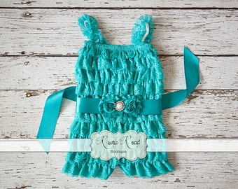 Teal Lace Romper, Baby Toddler Girls Romper, Teal Romper, 1st Birthday Outfit, Cake Smash Outfit, Ruffle Rompers, Petti Lace Romper, 3M-8yr
