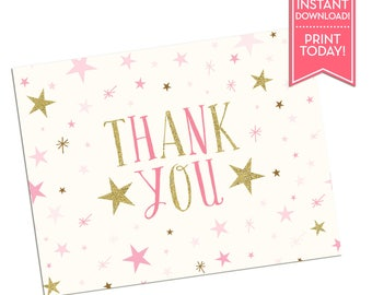 Thank You Card Twinkle Little Star - Printable Thank You Card - Birthday - Baby Shower - Any Occasion - Instant Download - LR1076