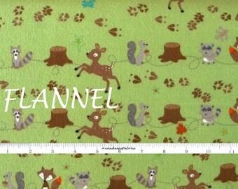 Green Woodland Children's Flannel, Riley Blake Fox Trails F2681, Doohikey Designs, Fawn, Squirrel, Fox, Flannel Baby Quilt Fabric, Cotton