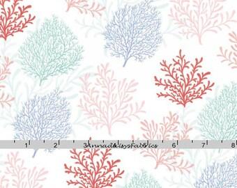 Sea Coral Fabric, Studio E Mermaid Dreams 3757 25, Lucy Crovatto, Blue, Aqua, Coral Nautical Quilt Fabric, Ocean  Fabric, Cotton