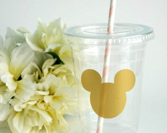Minnie Mouse Party Cups - 16oz - Gold Minnie Head - Birthday - Baby Shower