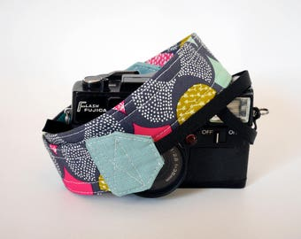 Cute camera strap, organic cotton camera strap, Grey DSLR camera strap, Nikon strap