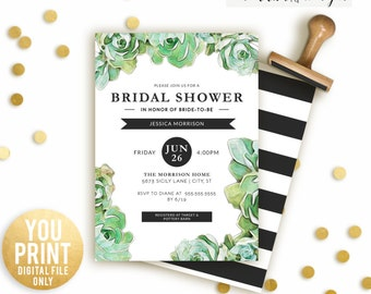 Succulent Bridal Shower Invitation, Bridal Shower Invite, DIGITAL, Succulent Shower Invitation, Floral Shower, Elegant Shower Invite DIY