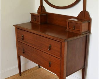 vintage dressing table retro antique Edwardian with mirror on castors