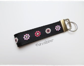 Keychains - flowers red & Black